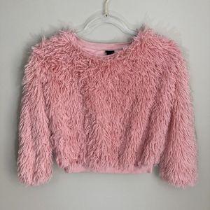 Art Class Faux Fur Fluffy Sweatshirt Cropped Top